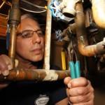 Dan Cabiroy repairing boiler in rockland County